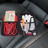 AutoTour Car Safety Kit on seat of car